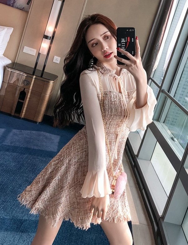 Long Sleeves Chiffon Dress | Mina – Twice