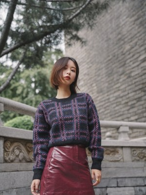 Momo Checkered Knit Sweater (1)