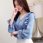 V-Neck Ruffled Lantern Sleeve Blouse | Momo – Twice