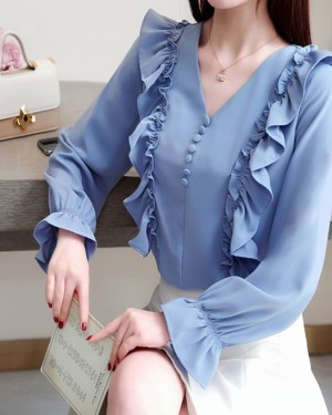 Momo V-Neck Ruffled Lantern Sleeve Blouse (3)