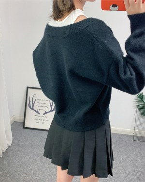 Nayeon Bi-layer V-neck Knit Sweater (1)