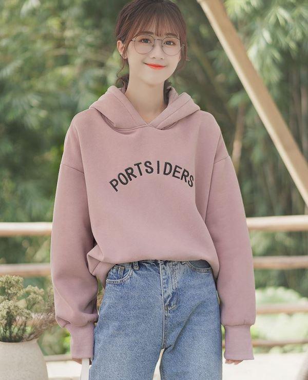 "Pink Plain Hoodie With ""Portsiders"" Writing"