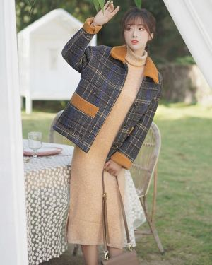 Regular Fitting Coat Plaid Design