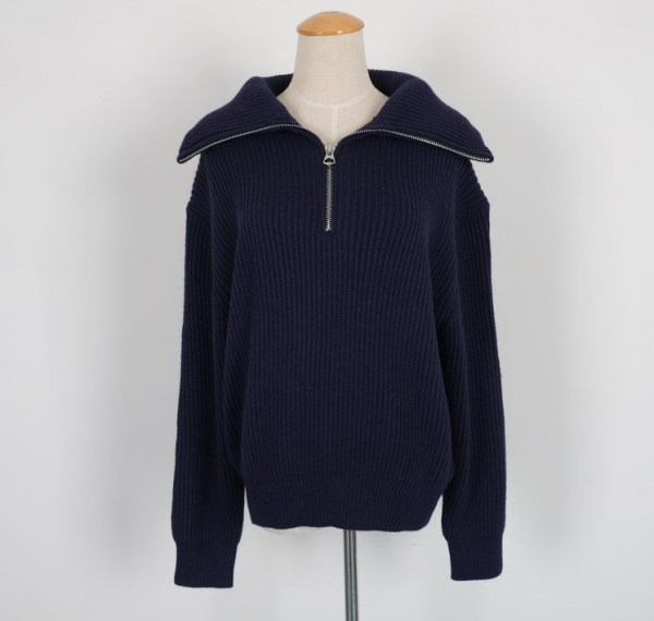 Navy Blue Loose Sweater With Zipper | Rose – BlackPink