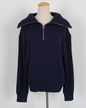 Rose Navy Blue Loose Sweater with Zipper (3)