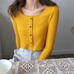 Square Collar Crop Long Sleeve Cardigan   Rose – BlackPink