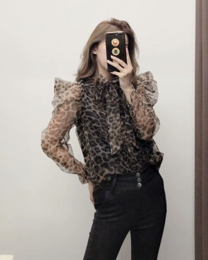Solar Leopard Print Semi-Transparent Blouse (1)