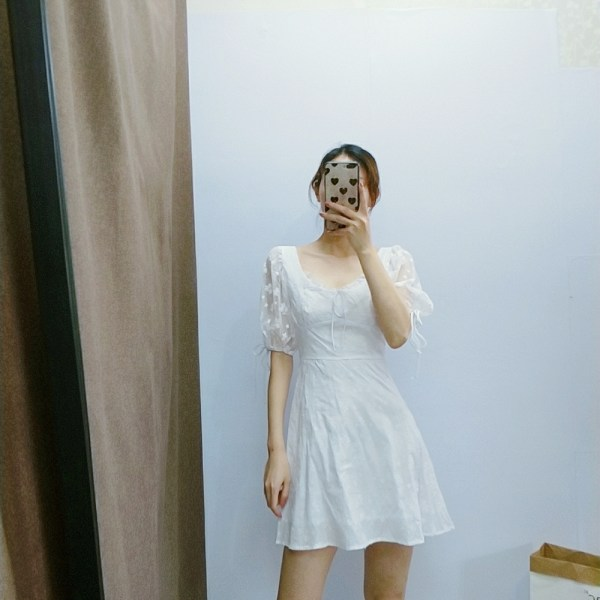 Puff Sleeve Lace Embroidered White Dress | Wendy – Red Velvet
