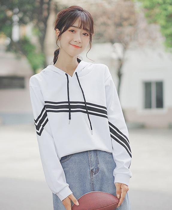 White Hoodie With Diagonal Stripes