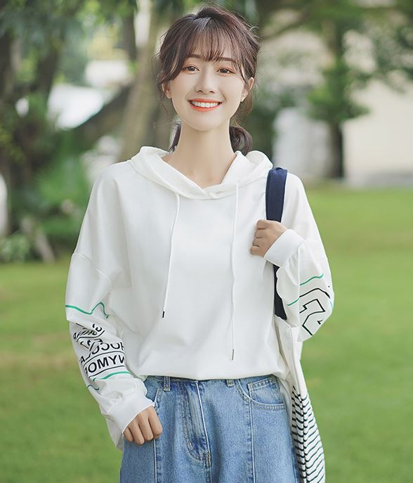 White Loose Hoodie With Writing On Sleeve