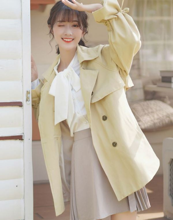 Yellow Check Coat With Laces At Sleeve