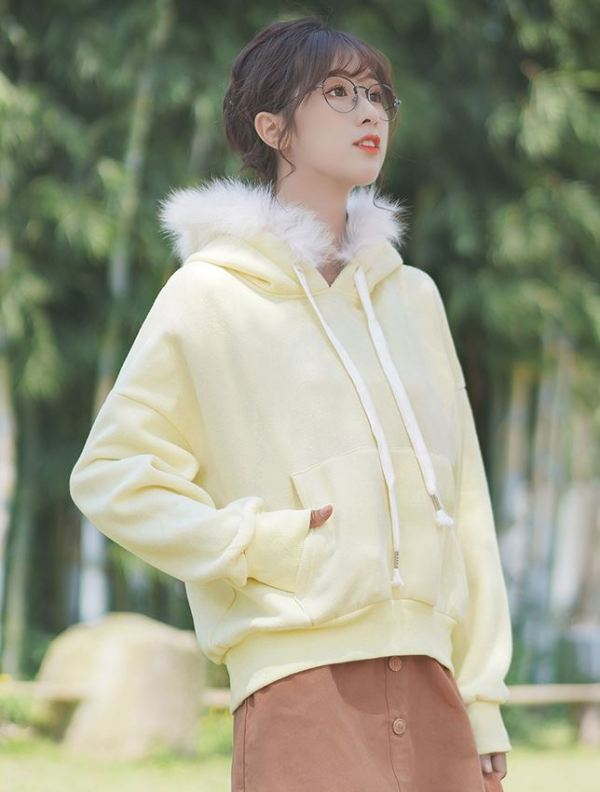 Yellow Plain Hoodie With Fleece Hood
