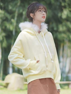 Yellow Plain Hoodie With Fleece Hood (1)