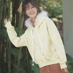 Yellow Plain Hoodie With Fleece Hood
