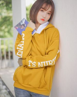 Yellow Writing On Sleeves Hoodie