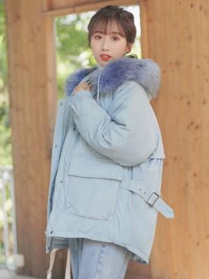 Blue Jacket With Fur Hoodie (7)