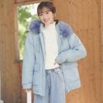 Blue Jacket With Fur Hoodie