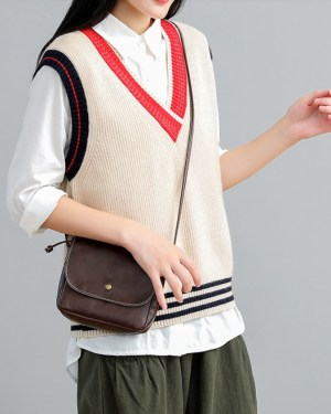 Chaeyoung V-neck Sleeveless Loose Knit Vest (11)