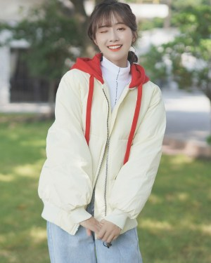 Creamy White Zipper Jacket With Red Hood (6)