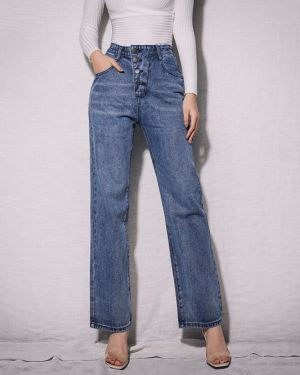 Dark Blue Flare Jeans With 4 Buttons Waist (1)