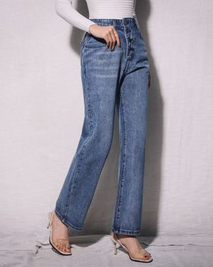 Dark Blue Flare Jeans With 4 Buttons Waist