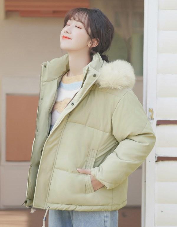 Dull Yellow Jacket With Fur Hood