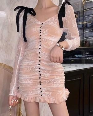 Irene Pleated White Lace Mini Dress (8)