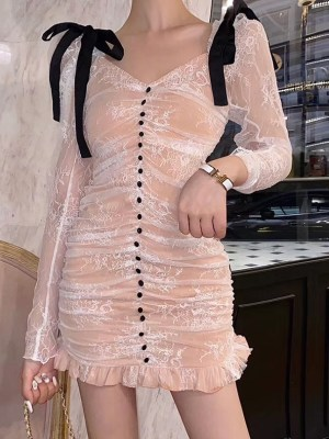 Irene Pleated White Lace Mini Dress (8)