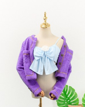 Jennie Blue Ribbon Sling Top & Lilac Chain Outlined Cardigan (3)