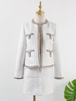 Jennie Tweed White Skirt & Tweed White Wool Coat (1)