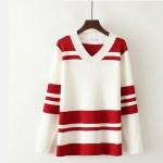 Red Striped V-neck Sweatshirt | Jeongyeon – Twice