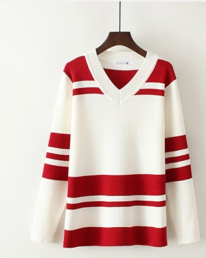 Jeongyeon Red Striped V-Neck Sweatshirt (8)