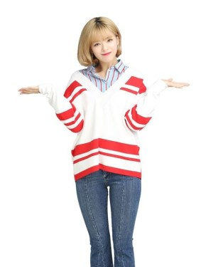 Red Striped V-neck Sweatshirt | Jeongyeon – Twice