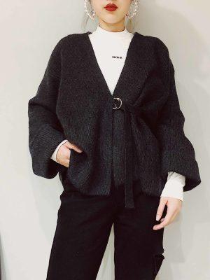 Jihyo Black Kimono Side Strap Cardigan (7)