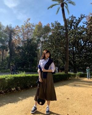 Pleated Long Skirt   Joy – Red Velvet