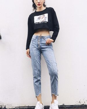 Light Blue Visible Zipper Jeans