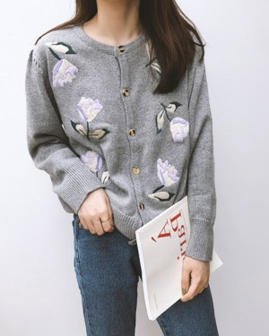 Sana Flower Embroidered Grey Cardigan (23)