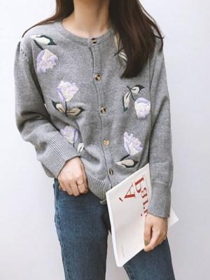 Sana Flower Embroidered Grey Cardigan (23)