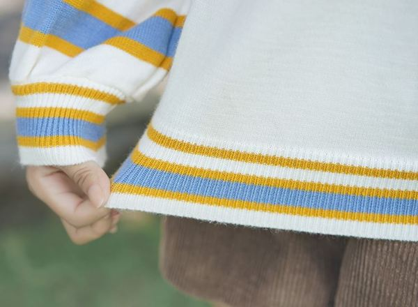 Striped Puffy Arms Sweater