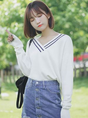 Student V-Neck Sweater with Stripe Detail on Collar (1)