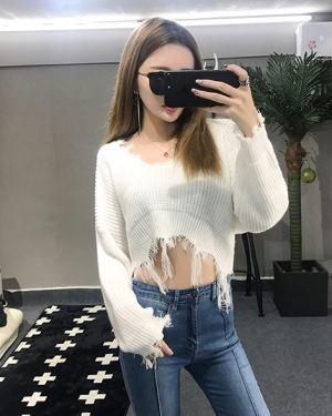 V-Neck Ripped Bottom Sweater