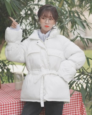 White Waist Cotton Coat (7)