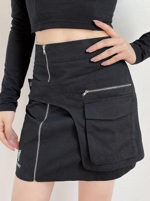 Yuqi Black High Waist Skirt With Pocket (4)
