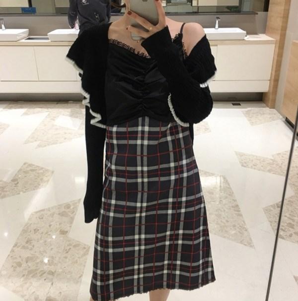 Lace Plaid Strap Dress | Dahyun – Twice