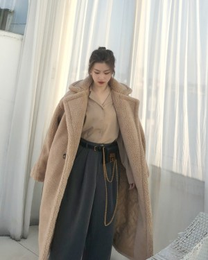 Hyuna Brown Teddy Bear Coat (4)