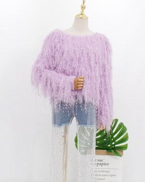 Hyuna Lilac Fringed Hairy Sweater (6)
