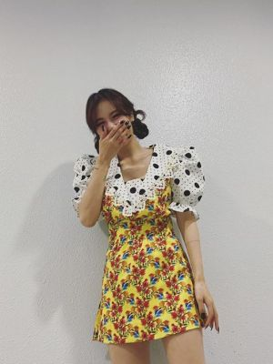 Puff Sleeve Polka Dots Floral Dress | Hyuna