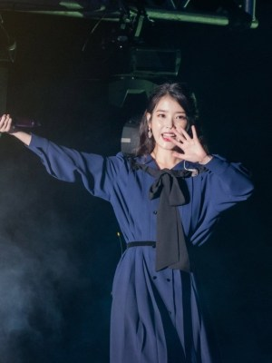 Navy Blue Pleated Lace Loose Dress | IU