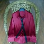 Wine Red Satin Silk Shirt   IU