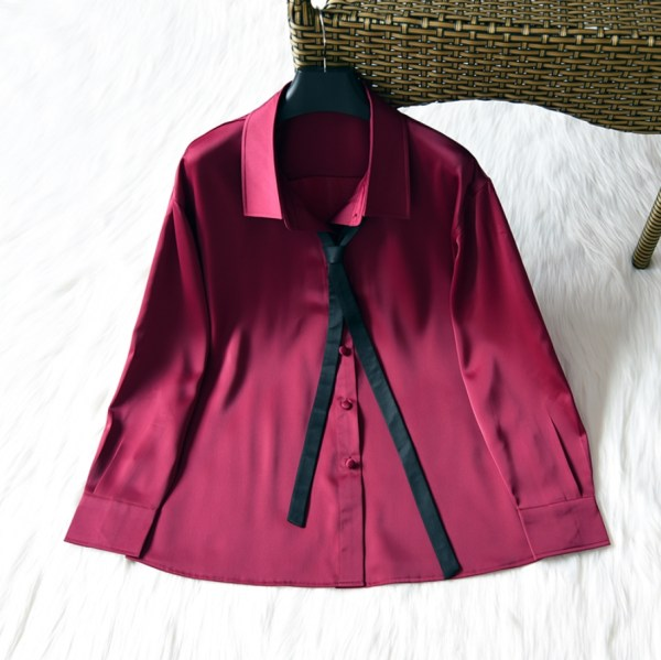 Wine Red Satin Silk Shirt | IU